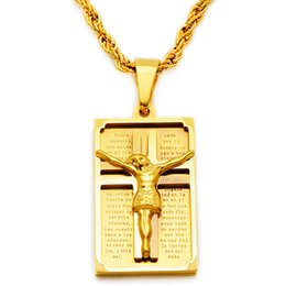 Wholesale Jesus Piece Wholesale - Cross Necklace Women Men Stainless Steel Jewelry Wholesale Trendy 18K Real Gold Plated Crucifix Jesus Piece Cross Pendant NE005