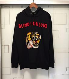 Wholesale Mens Xl Hoody - 2017 Hoodies Mens Male Brand Hoodies Black Hoody Sweatshirts Letters flocking embroidery tiger Streetwear Men Hoodies