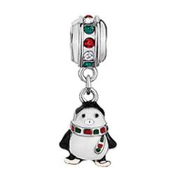 Encanto de goma online-pingüino cuelga amuletos Rodio Galjanoplastia Goteo metal deslizamiento de cuentas Europea spacer charm fit Pandora pulsera