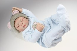 Juguetes de chicos de china online-20 pulgadas Reborn Baby Doll Realastic Boy Baby Dolls Full Soft Vinyl Lifelike Kids Toys en Soft Blue Baby Clothes