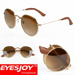 Wholesale Pops Rounding - Roun Collections Folding Sunglasses EYESJOY Fashion Designer Pop Men Women PU Leather Metal Frame G15 Glass Lens Sunglasses for Men with Box