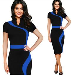 Wholesale Elegant Slim Office Dress - Womens Summer Elegant Optical Illusion Colorblock Contrast Slim Work Office Business Casual Party Sheath Dress qingyang