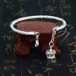 Wholesale Crown Charm Price - 990 Sterling sliver bracelets, fashion beauty imperial crown bracelets, free shipping, size 560mm, woman jewelr factory best price wholesale