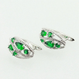 Wholesale Emerald Huggie Earrings - Classic Silver Jewelry Green Emerald Hoop Earring For Women Enjoyable Gift For Lady Free Jewelry Box