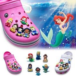 Wholesale Decorations For Shoes Babies - 6Pcs lot Baby Princess PVC Cartoon Shoe Charms Ornaments Buckles Fit for Shoes & Bracelets ,Charm Decoration,Shoe Accessories Party Gift