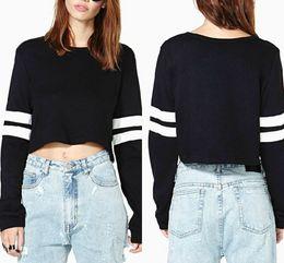 Wholesale Wholesale Black Sweatshirts - 2016 Autumn Women Sweaters O Neck Stripe Splicing Female Long Sleeve Sweatshirts Fashion Short t Shirt Pullovers Black White WY6974 10pcs