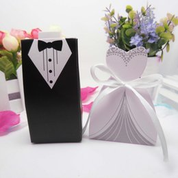 Wholesale Dress Wedding Card - Bridal Gift Cases Groom Tuxedo Dress Gown Ribbon Wedding Favor Candy Box #3937