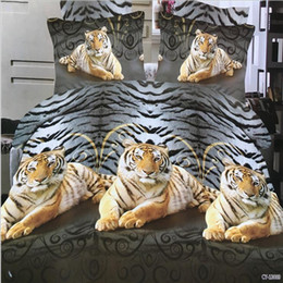 Wholesale King Black Floral Comforter - 2017 Home Textiles 3D animal Reactive printing cotton 4 pcs bedding set duvet quilt cover bed sheet Pillowcase bedclothes BB02