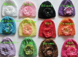 Wholesale Silk Flower Ranunculus - 10pcs baby waffle crochet hats with Rosette Crystal Center Silk Ranunculus peony flower hair clips soft caps stretchy weave Beanie MZ9113