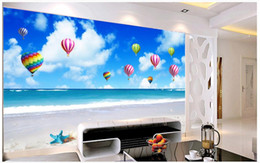 Wholesale Hot Air Balloon Wall Art - Custom modern minimalist mural photo wallpaper Blue sky white sky hot air balloon TV wall mural abstract art wall peper bedroom wall decor