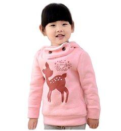 Wholesale Deer Baby Coat - New plus velvet winter children jackets cartoon deer girls hoodies outerwear thicken kids coat fashion baby hooded sudaderas