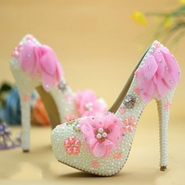 Wholesale Event Designer Dress - 2016 Unique Designer Wedding Shoes Pink Lace High Heel Bridal Dress Shoes Lady Party Shoes Big Size Prom Party Event Pumps