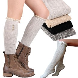 Wholesale Wool Leggings Girls - girls fashion lace knee high socks women girl knitting wool leggings leg warmer with button 3 colors available