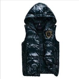 Wholesale Men Vest Jacket Hood - Wholesale- 2017 New Style Men's fashion down jacket vest casual winter jacket turn down collar outerwear thermal cotton vest with detachabl