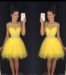 Wholesale White Crystal Puffy Cocktail Dress - Glamorous Beadings Yellow Homecoming Dresses Cheap 2018 Sheer Tulle Illsuion Sleeveless Knee Length Short Mini Puffy Cocktail Dresses