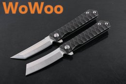 Wholesale Wolf Blade - WOWOO NEW FREE WOLF ADV Butcher BISHA Flipper D2 Tanto Skinner Razer Satin Knife Hardcased Black Wave Handle Folding Pocket EDC Knife Knives