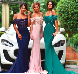 Wholesale Sparkling Sashes - Off Shoulder Mermaid Bridesmaid Dresses Sequined And Chiffon Mermaid Long Maid Of Honor Dresses Party Evening Wear Long Sparkling Prom Dress