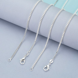 Wholesale Brass Box Chain - 925 Sterling Silver Box Chains Necklace For Pendants Jewelry Cheap Price Chain For Woman Lobster Clasps Size 1.4MM