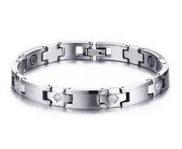 Wholesale mens health bracelets - New 8MM Tungsten Steel Health Bracelet Fashion Mens Magnetic Therapy Bracelet Germanium Ion Wrist CZ Stone Bracelet B883S