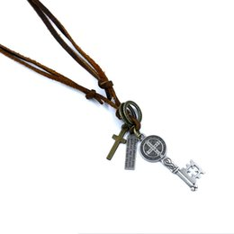 Wholesale Religious Key Chains - Religious jewelry wholesale Europe and America HOT Cross Jesus universal key pendant Strings leather necklaces sweater chain
