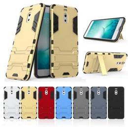 meizu caso Rebajas Para Meizu Meilan Note 6 Estuche de soporte Rugged Combo Hybrid Armor Bracket Funda protectora de impacto Funda protectora para Meizu Meilan Note 6