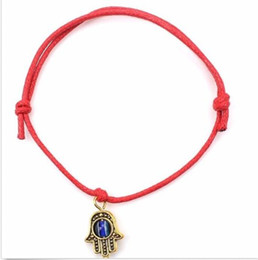 Wholesale Pearl Wax - Free 100pcs Hamsa Hand String Evil Eye Lucky Red wax Cord Adjustable Bracelet HOT