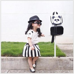 Wholesale Wholesale Puff Sleeves Girls Shirts - 2016 New Summer Children Pretty Panda Princess Sets Puff Sleeve T-shirt Tops+Striped Tutu Skirt 2pcs Set Girls Korean Style Casual Outfits