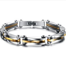 Wholesale Sterling Silver Jewelry Infinity Link - Punk Rock Heavy Metal Bracelet Silver Gold Plated texture Stainless Steel Infinity Link Chain Bracelet Cool Men Jewelry