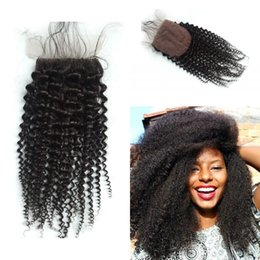 Wholesale Silk Top Hair Closure Curly - Peruvian Kinky Curly Silk Base Closure Unprocessed Virgin Human Hair Top Closures Natural Color Hidden Knots 4x4 Inch G-EASY