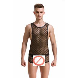Wholesale Men S Underwear Brands - Wholesale- Fashion Brand Black Plaid Fishnet Man Sexy Bodybuilding Funny Sheer Tank Tops+Mens Underwear Boxers