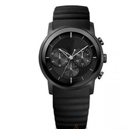 Wholesale Silicone Chronograph Watch - Black Rubber Chronograph Mens Watch 1512639