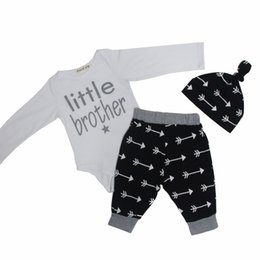 Wholesale Boys Brother - Baby Onesies Romper pant with hat Letters Little brother Baby boy clothes 2017 Spring Autumn Mixed