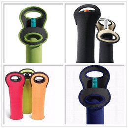 Wholesale Wine Bags Coolers Wholesale - High Quality Beer Wine Glass Single 3.5mm Neoprene Bottle Cooler Sleeves Holder Cover Bag Water Bottle My Bottle 750ml print logo ZA0777