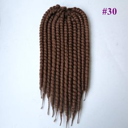 Wholesale Synthetic Afro Kinky Bulk - (10 Packs Free crochet needles Color #30 ) 18inch 110grams 100% Kanekalon havana mambo twist synthetic braiding hair afro senegalese braid