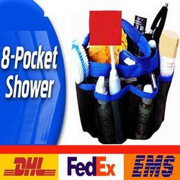 Wholesale Wall Hanging Storage Pockets - 8 Pocket Shower Caddy Oxford Bathroom Hanging Storage Bag Home Makeup Organizer Holder Hosekeeping Accessories PX-B01