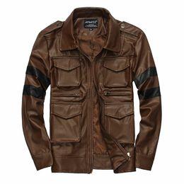Wholesale Striped Leather Jackets Men - Fall-Men's Leather Jacket Winter PU Motorcycle Clothing Men's Short Leather Coat Parkas Jaqueta Masculinas Inverno M-XXXL Large Size