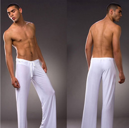 Wholesale Silk Onesies - Wholesale-Mens White Coffee Gray Black Milk Silk Pajamas Pyjamas Pants Lounge Pants Sleep Bottoms Free S M L XL XXL XXXL Plus trousers