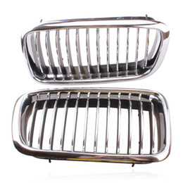 Wholesale bar grille - 2 pcs Silver Left & Right Grille Grill Chrome Frame Fin Bar Grid For BMW 7-Series E38 728 730 735 740 1999-2001 ABS Plastic