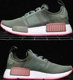 Wholesale Japanese Nude - Popular NMD_R1 PK Triplr White Japanese BOOST Sneakers Fashion Running Shoes big particle Real Boost Sneakers nmd Rose Gold shoes 2018 36-45