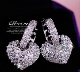 Wholesale Newest Crystal White Diamond Heart - Newest full of diamond zircon cute hearts love stud earrings good quality allergy free studs free shipping