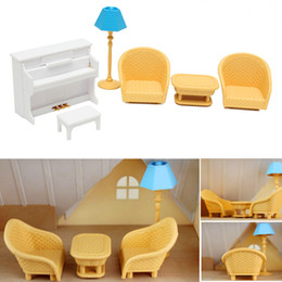 Wholesale Dollhouse Tables - Furniture Toys Dollhouse Sofa Piano Table Miniature Furniture Sets For Sylvanian Family Accessories Kids Gift Toys