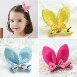 Wholesale United States Colors - 16 colors baby girl Europe and the United States children's Christmas hair accessory Rabbit ear bowknot Cute hairpin hair accessory
