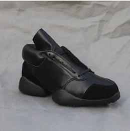 Wholesale Rubber Sole Cowboy Boots - Luxury Dark trend STREET 2018 Zhilong horse hoof sole running owen hip hop genuine leather ankle Boots factory sale