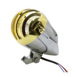 Wholesale Headlights Custom - H4 12V 35W Motorcycle Bullet Halogen Aluminum Headlight Head Light Lamp LED Indicators For Harley Custom Chopper Gold Chrome