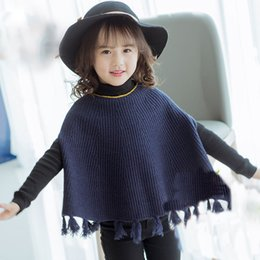 Wholesale Western Coats Jackets - Everweekend Girls Tassel Capes Poncho Cute Baby Blue and Gray Color Coat Lovely Kids Western Korean Fashion Autumn Outerwear