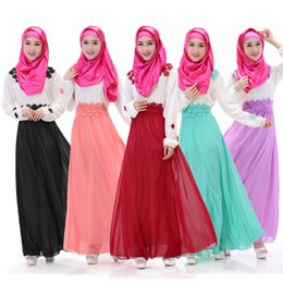 Wholesale Abaya Islamic Clothing Women - Hot Sale Bright Colors Lace Belt Straps Embroidery Muslim Abaya Jilbab Islamic Clothing For Women