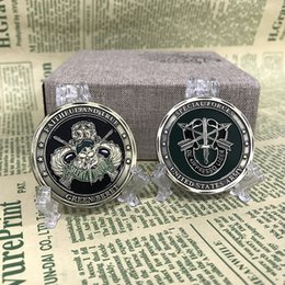 Wholesale Antique Carved Box - Unique Design 40mm United States American Army Special Forces Patriotic Military Challenge Colletion Business Gift Coin
