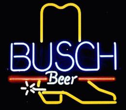 "Wholesale Neon Busch Beer Signs - Busch Beer Cowboy Boot Neon Sign Custom Handmade Real Glass Tube Store Beer Bar KTV Club Pub Advertising Display Neon Signs 19""x19"""