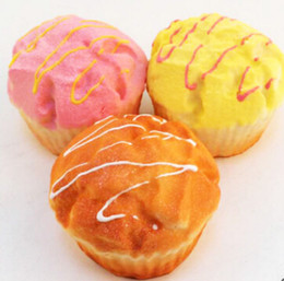 Wholesale Cake Cups - Wholesale-20PCS Wholesale Yummy Jumbo Cup Cake Bread Squishy Scent Puffs Straps Toy Collectibles Wholesale
