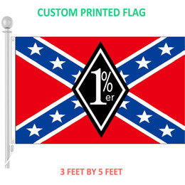 Wholesale Wholesale Confederate Flags - 3x5 feet 1%er Confederate Battle Flag custom Outlaw Motorcycle Club Flags and Banners with Grommets
